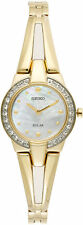 Seiko Solar SUP232 Ladies Tressia Gold Tone Steel Swarovski Crystal 22mm Watch