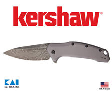 "Kershaw Knives 1776GRYDAM LINK 3.25"" Blade Damascus Steel Aluminum Handle"