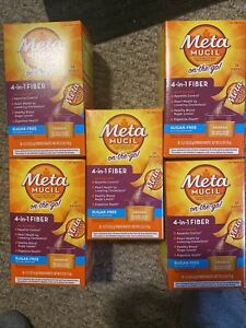 5 Meta Mucil On The Go 4 in 1 Fiber Sugar Free Orange 150 Packets 05/2022 EXP
