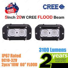 Pair 5inch 20W CREE LED Light Bar Work FLOOD Beam SINGLE ROW Truck ATV 4WD Car