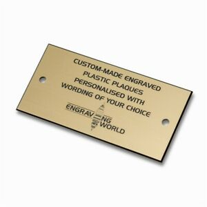 76mm x 26mm Personalised Engraving Engraved Plastic Plaque Sign (Gold/Black)