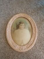 Antique Oval Framed Painting Convex Bubble Glass Vintage