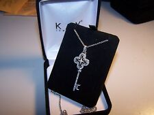 KAY JEWELERS DIAMOND ENCRUSTED FILIGREE KEY  PENDANT AND CHAIN IN STERLING SILVE