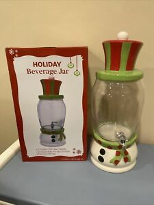 Large Holiday Beverage Jar Ceramic with Class 1.7 Gallon