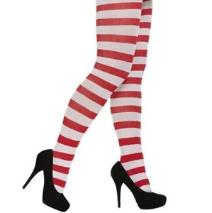 New Ladies Red & White Striped Tight Stripy Tights Girls Stretchy Dance Wear UK