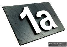 Hausnummerschild Hausnummer Edelstahl Design V2a mit Wunschnummer auf Schiefer