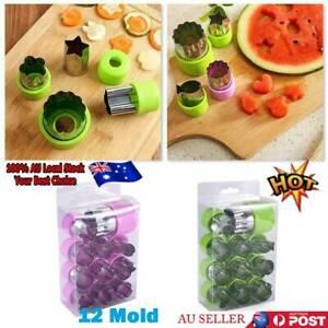 12xStainless Steel Fruit Vegetable Mini Cookie Shape Cutter Set Kid Food Mold AU