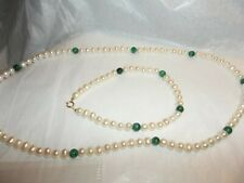 "10K 18""  MALACHITE AND FRESH WATER PEARLS NECKLACE AND BRACELET SET"