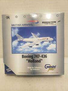"RARE Geminijets 1:400 British Airways 747-436 World Tail ""Holland"" G-CIVN"