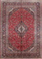 """Vintage Traditional Floral Kaashaan   Hand Knotted Area Rug 13' 5"""" x 9' 9"""""""