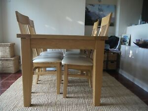 Solid Ash Extending Dining Table & 4 Solid Ash Chairs