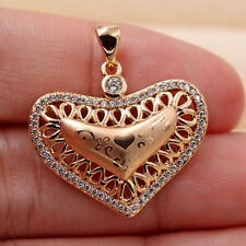 18K Gold Filled Heart Pendant Hollow Oval Women Jewelry Sweater Necklace Gift BR