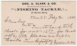 RARE Advertising Postcard 1884 - Signed George A Clark Fishing Tackle Utica NY