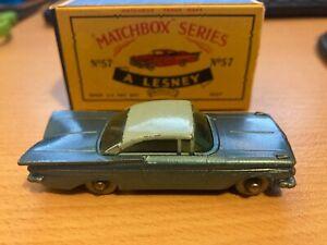 MATCHBOX  NO.57- CHEVROLET BLUE IMPALA  RARE 1961