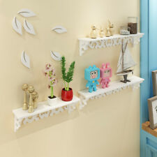 3 X White Wooden Wall Mounted Shelf Display Hanging Rack Storage Holder Home
