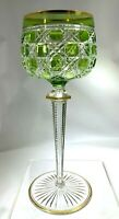 Unique St Louis France Cut Stem Lt/Green Block Cut to Clear Crystal Wine Glass