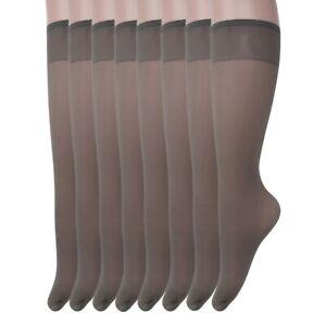 Sheer Knee High Socks for Women 8 Pairs Stockings Stretchy Silk Socks