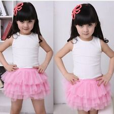 Girls Kids Baby Tulle Layered Skirt Dress Lace Princess Party Tutu Skirts 2Y