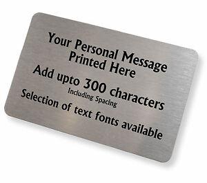 Personalised Brushed Silver Aluminium Any Text Keepsake Card Wallet Purse Insert