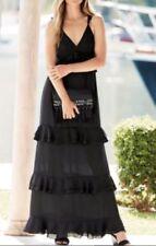 BNWT NEXT BLACK MAXI TIERED DRESS SZ 6 PETITE  RRP £65 SUMMER HOLIDAY WEDDING