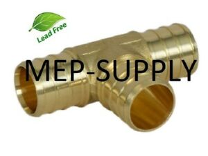 """1/2"""" PEX TEE - Brass 1/2 inch Crimp Fitting, LEAD FREE - LOT OF (10)"""