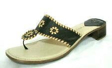 Apostrophe Sandals Shoes Sz 7 Thong Brown Beige Leather Chunk Heel Slide Jacyln