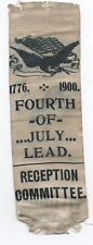 1900 Reception Committee Ribbon w/ Eagle & Flag 4th of July Celebration Lead Sd