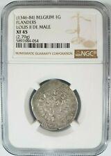 Louis II De Male 1346-1384 Flanders NGC XF 45 Silver Gros Lion Groat Belgium