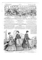 crinoline paletot Casaque MODE ILLUSTREE SEWING PATTERN Aug 21 1870 dress