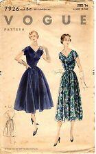 "1950s Vintage Vogue Pattern Women's DRESS 7926 Size 14 Bust 32"" FCUT & FOLDED"