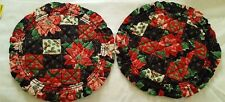 """2 Holiday round heavy reversible quilted ruffled print place mats 11"""" dia vtg"""