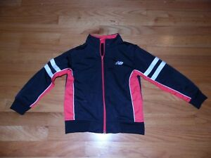 Boys Youth New Balance Track Jacket Sz 5/6 Full Zip Black & Red EXC Cond!