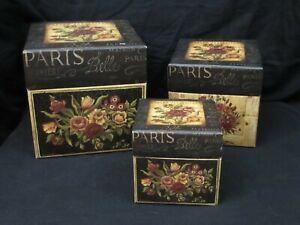 Bob's Boxes Nesting Set of 3 Fleur Belle 2003 Kimberly Polson