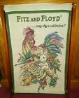 Fitz & Floyd Double Sided Rooster Easter Bunny Rabbits Tapestry on Wooden Frame