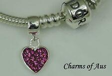 PANDORA Genuine bracelet with 925 S/Silver Hot Pink Heart Dangle Charm. Xmas