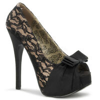 BORDELLO PLEASER TEEZE BURLESQUE LACE COVERED PLATFORM STILETTO HIGH HEEL SHOES
