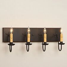 Country Rustic 4-arm Wood Mirror Vanity Bar Wall Light w/ Stars in Black