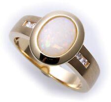exkl Damen Ring echt Gold 585 echt Opal Brillant 0,08ct Gelbgold Diamant
