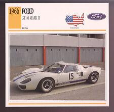 1966 Ford GT-40 GT40 Mark II (2) P/1007 Race Car Photo Spec Sheet Stat Info CARD