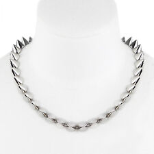Eddie Borgo Silver Tone Metal Conical Spike Choker Necklace