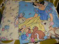 vtg DISNEY SNOW WHITE DWARFS 2pc full size bed sheet cotton/poly fabric bedding