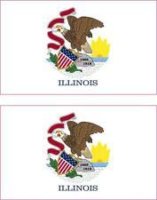 2 x Autocollant sticker voiture vinyl drapeau USA americain illinois