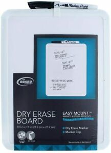 """Dry Erase Board The Board Dudes Vinyl Frame Easy Mount 8.5"""" x 11"""" NEW W/ DEFECT"""