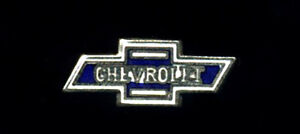 Vtg Enamel Pin Chevrolet hat lapel hot rod classic car Chevy bowtie drag race
