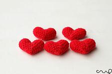 Nouveau 5 x handmade crochet rouge coeurs amigurumi 3D motifs mariage carte-making deco