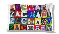 Personalized Pillowcase featuring ZACHARY in photos of actual sign letters