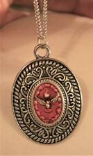 Vintage Swirl Rimmed Red Finished Holy Spirit Dove Peace Medal Pendant Necklace