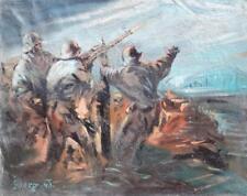 """Helmut Georg 1915-1989 Bad Honnef / Gemälde """"Erdabwehr"""" 1943 / Krieg Luftwaffe"""