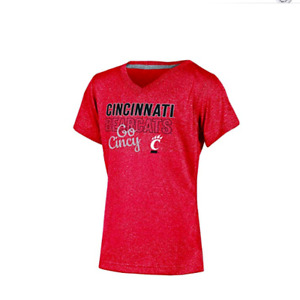 NCAA Cincinnati Bearcats Short Sleeve V-Neck T Shirt Red Heather Girl's M
