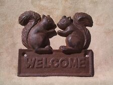 Squirrel Welcome Plaque rust cast iron Squirrell Door Sign forest whimsy